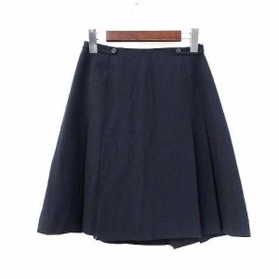 【中古】ヨークランド YORKLAND プリーツ スカート 9 M 紺 ネイビー ポリエステル ミニ 無地 シンプル レディース