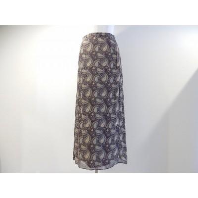 #anc スキャパ SCAPA スカート 38 茶 ペイズリー柄 シルク レディース [625682]