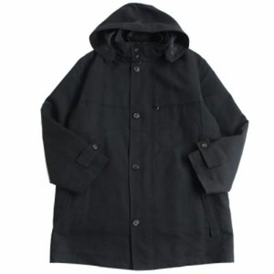 良品△バーバリーロンドン 一部チェック柄 3WAY フード・キルティングジャケットライナー付き ロングコート ブラック M 日本製 正規品