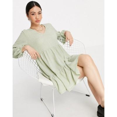 マンゴ Mango レディース ワンピース Vネック Aライン ワンピース・ドレス mini tiered v-neck smock dress in light sage グリーン