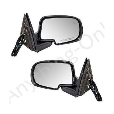 【新品】Brock Replacement Driver and Passenger Set Power Side Door Mirrors Heated with Black Cover Compatible with 2003-2007 Silverado S