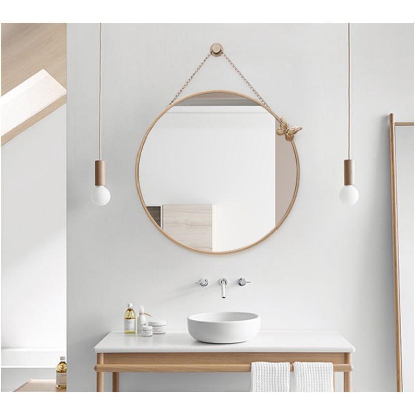 一件免運浴室鏡子壁挂貼牆挂牆式廁所衛浴化妝鏡挂鏡北歐圓鏡子衛生間鏡子 - 直徑70cm金色款