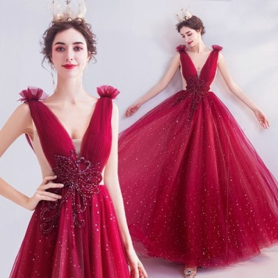【ANGEL】ノースリーブVネック肌透けラメチュールビーズ背中編上げAラインロングドレス【送料無料】高品質 レッド 赤 ロングドレス