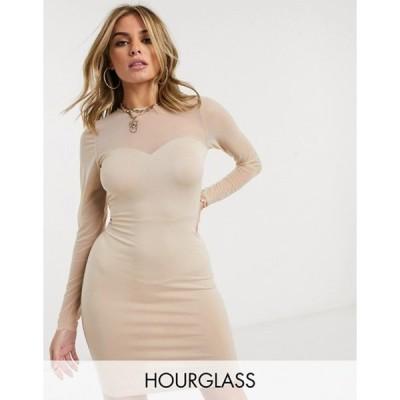 エイソス レディース ワンピース トップス ASOS DESIGN Hourglass mesh long sleeve cup detail mini dress in mink