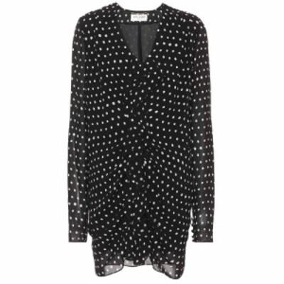 イヴ サンローラン Saint Laurent レディース ワンピース ワンピース・ドレス Polka-dot crepe minidress Black/White