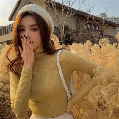ハイネック タイト セーター 韓国 オルチャン ニット リブ タートル ニット スリム  K-POP 原宿系 トップス  NI-861