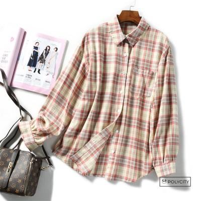 秋の新作 レディースシャツ ブラウス 綿 格子 開襟 ゆったり 長袖 レトロ 気質 快適 通気 2色選択可能