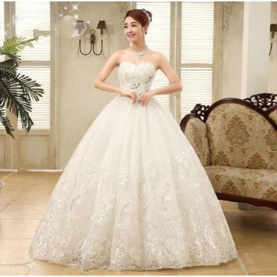 パーティードレス  プリンセスライン 素敵 手作り セール 人気 結婚式 花嫁 ウエディングドレス ブライダル ワンピース 冠婚 ロング丈 綺麗 二次会ドレス 女性
