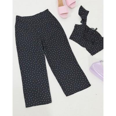 エイソス レディース カジュアルパンツ ボトムス ASOS DESIGN wide leg pants in polka dot  two-piece