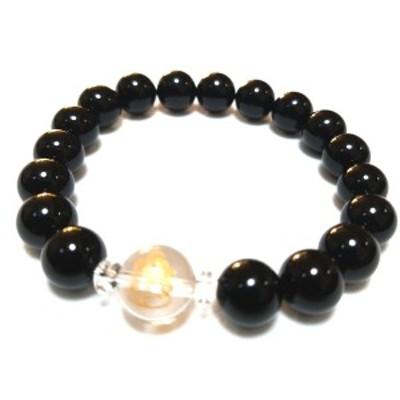 ガネーシャ 12ミリ 水晶 ブラック オニキス メンズ レディース 数珠 ブレスレット 【送料無料・パワーストーン・天然石・金運・健康・恋