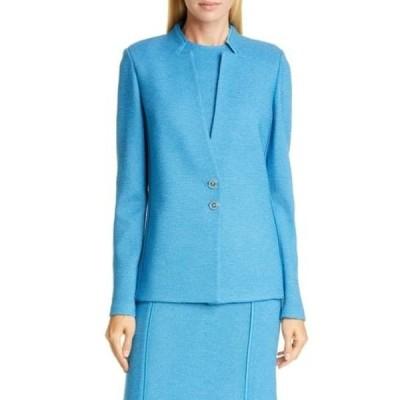 セント ジョン コレクション レディース ジャケット&ブルゾン アウター Pebbled Textured Knit Inverted Wool Blend Jacket LAGUNA BLUE