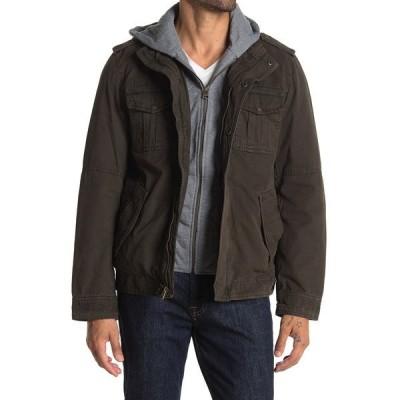 リーバイス メンズ ジャケット&ブルゾン アウター Faux Shearling Lined Hooded Military Jacket DARK BROWN