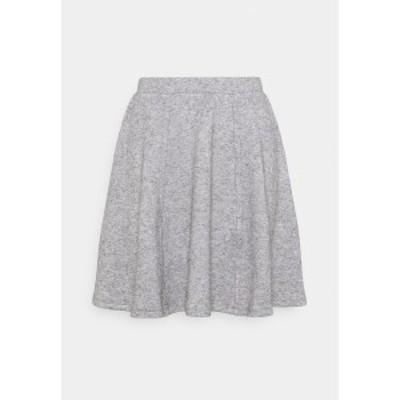 エブンアンドオッド レディース スカート ボトムス Flared mini knitted skirt - Mini skirt - mottled grey mottled grey