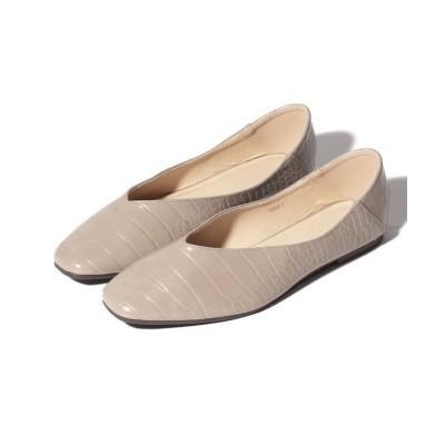 【シュークロ】 2Way スクエアトゥ Vカット フラットパンプス レディース グレージュ S Shoes in Closet