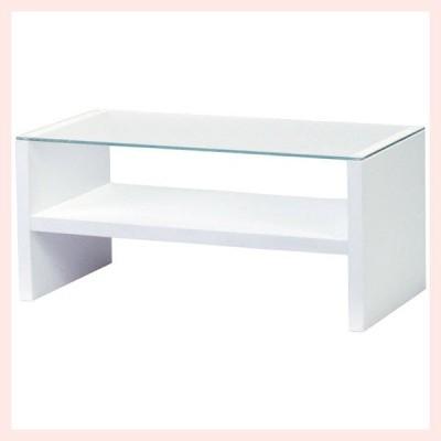 ガラステーブル(90×45×41.5cm)/ホワイト