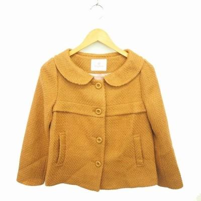 【中古】ルビーリベット Rubyrivet コート アウター ラウンドカラー ショート ウール混 長袖 36 茶 ベージュ /TT3 レディース 【ベクトル 古着】
