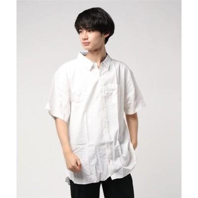 シャツ ブラウス スーパービッグシルエット フレンチリネン×ストレッチ コットン麻 半袖シャツ