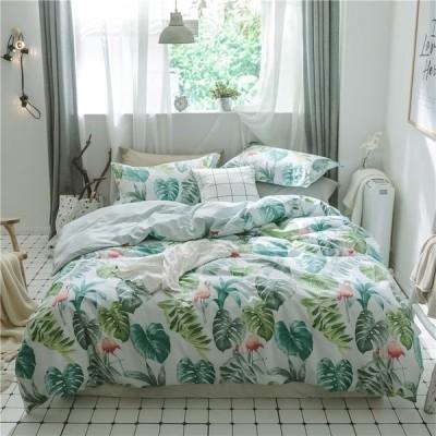 北欧調柄 掛け布団カバー 4点セット 敷き布団カバー 綿100% 植物柄|掛け布団カバー 1点|シーツ 1点|枕カバー 2点|a582