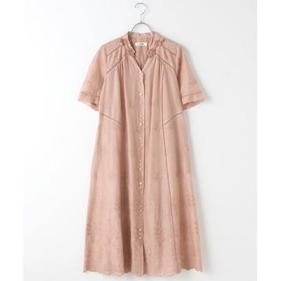 INGEBORG/インゲボルグ スズラン刺繍ロングワンピース ピンク 11号