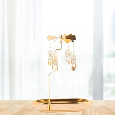 ゴールドキャンドルホルダー回転スピニングティーライトホルダーキャンドルホルダー装飾G
