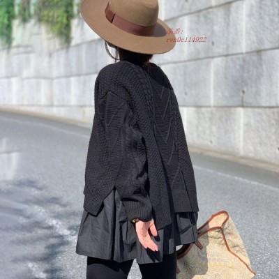 ニットセーター 長袖 レディース トップス 暖か 秋服 おしゃれ 大きいサイズ 体型カバー スプライシング 秋冬 ストレッチ ゆったり
