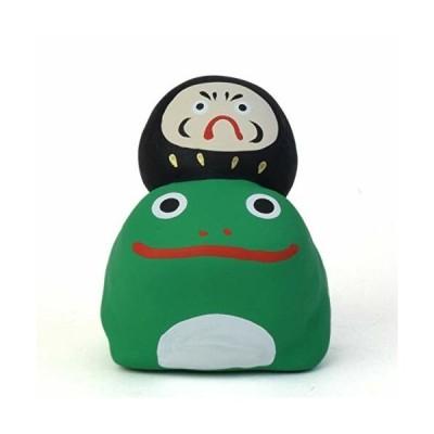 置物 オブジェ かえるに乗るだるま 蛙 達磨 黒手仕事 職人 愛知県 瀬戸市 玩具工房 懐かしいけど新しい g102