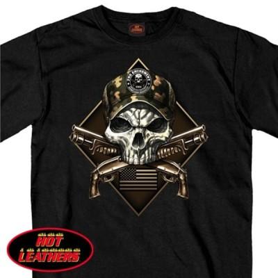 米国直輸入! ホットレザー カモ スカル セカンド アメンドメント メンズ 半袖Tシャツ! HOTLEATHERS ブラック 黒 プリントT バイカー バイクに!