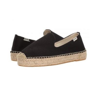Soludos ソルドス レディース 女性用 シューズ 靴 ローファー ボートシューズ Platform Smoking Slipper - Black