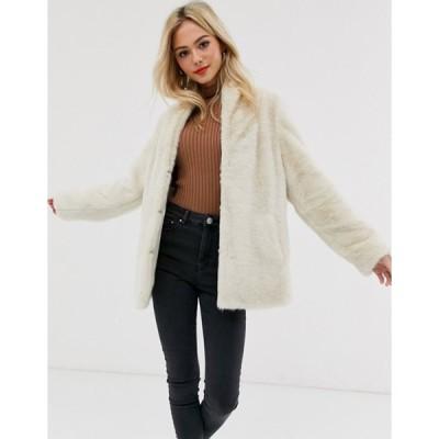 エイソス レディース コート アウター ASOS DESIGN stand collar faux fur coat