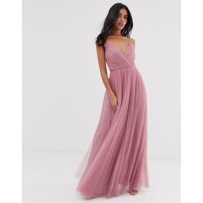 エイソス レディース ワンピース トップス ASOS DESIGN cami pleated tulle maxi dress in rose Rose