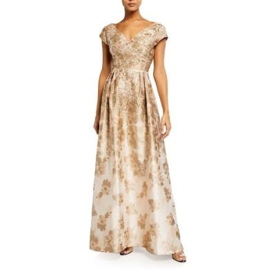 アイダンマットックス レディース ワンピース トップス V-Neck Princess Seam Metallic Jacquard Gown