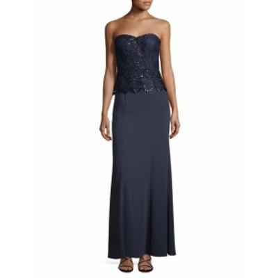 エイダンマトックス レディース ワンピース Sequin Lace Peplum Gown