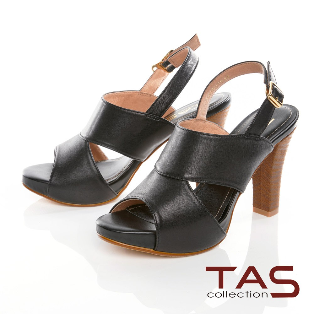 TAS鏤空剪裁魚口高跟涼鞋–摩登黑