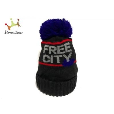 フリーシティー FREE CITY ニット帽 - 黒×ダークネイビー×マルチ ウール 新着 20210209