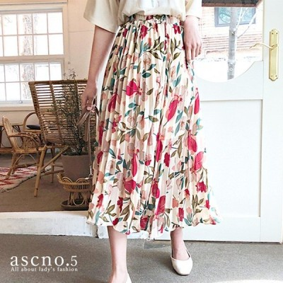 *在庫限り*優しい色合いとプリーツがキレイなフラワースカート 花柄 春 夏 お出かけ デート モテ服 デイリー レトロ クラッシック