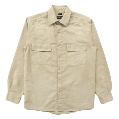 古着 フェイクスウェードシャツ 長袖 ベージュ サイズ表記:S