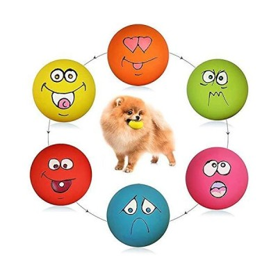 Smile Face Dog Squeaky Toys Soft Latex Squeak Balls for Puppy Small Medium