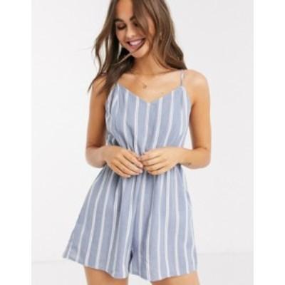 ニュールック レディース ワンピース トップス New Look stripe tie back beach romper in blue Blue pattern