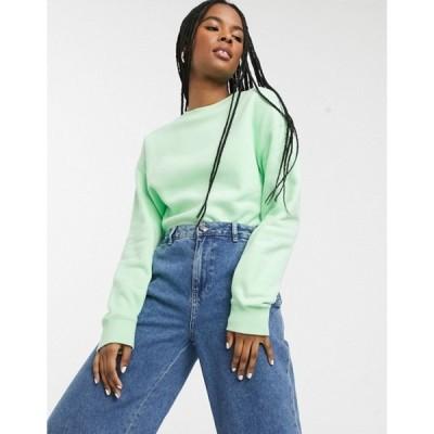 モンキ レディース シャツ トップス Monki Anny cropped sweatshirt in green
