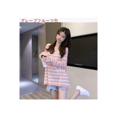 【送料無料】レディース 夏 韓国風 サンプロテクションストライプ 丸襟 ニット 薄いスタ | 364331_A63276-3287023