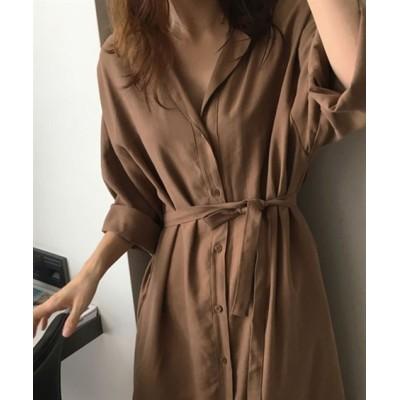 ロングシャツワンピース (ワンピース)Dress