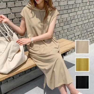 韓国 ファッション レディース ワンピース 夏 春 カジュアル naloI692  フレンチスリーブ風 パーカーワンピース マキシ シンプル コーデ
