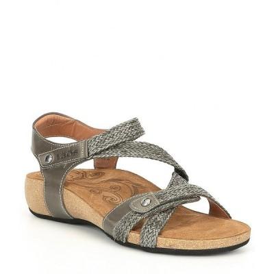 タオスフットウェア レディース サンダル シューズ Trulie Woven Leather Sandals Dark Grey