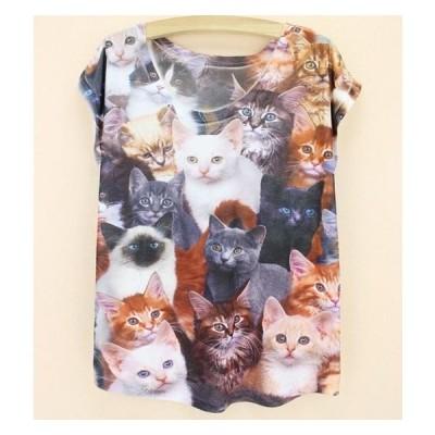 猫 Tシャツ 猫柄 猫だらけ レディース かわいい 半袖 丸首 白 ユニーク  猫のデザイン 動物柄 ファッション ねこ ネコ 雑貨 グッズ プレゼント