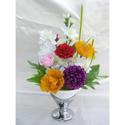 お仏壇 お供え 雅 トルコキキョウ バラ アレンジ プリザーブドフラワー 花瓶付