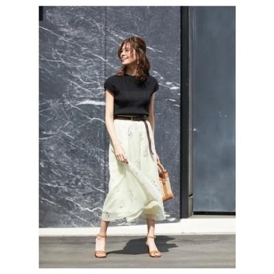 Fabulous Angela(ファビュラスアンジェラ)ベルト付きオリジナルフラワープリント楊柳ギャザースカート