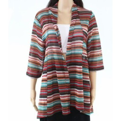 Red  ファッション トップス Erin Lodon Womens Sweater Red Size Large PL Petite Cardigan Striped