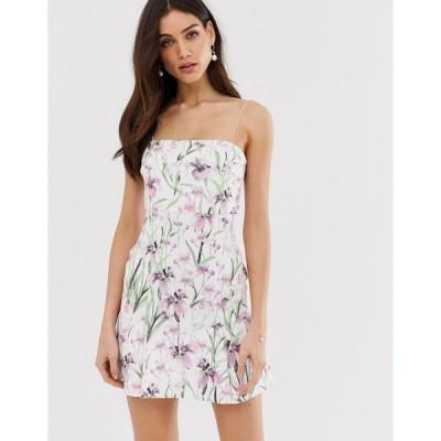 エイソス ミディドレス レディース ASOS DESIGN floral crop top pep hem mini dress エイソス ASOS