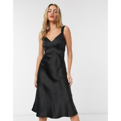 フレンチコネクション レディース ワンピース トップス French Connection satin slip midi dress in black