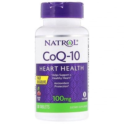 コエンザイムQ-10、速溶性、チェリー風味、100mg、30錠